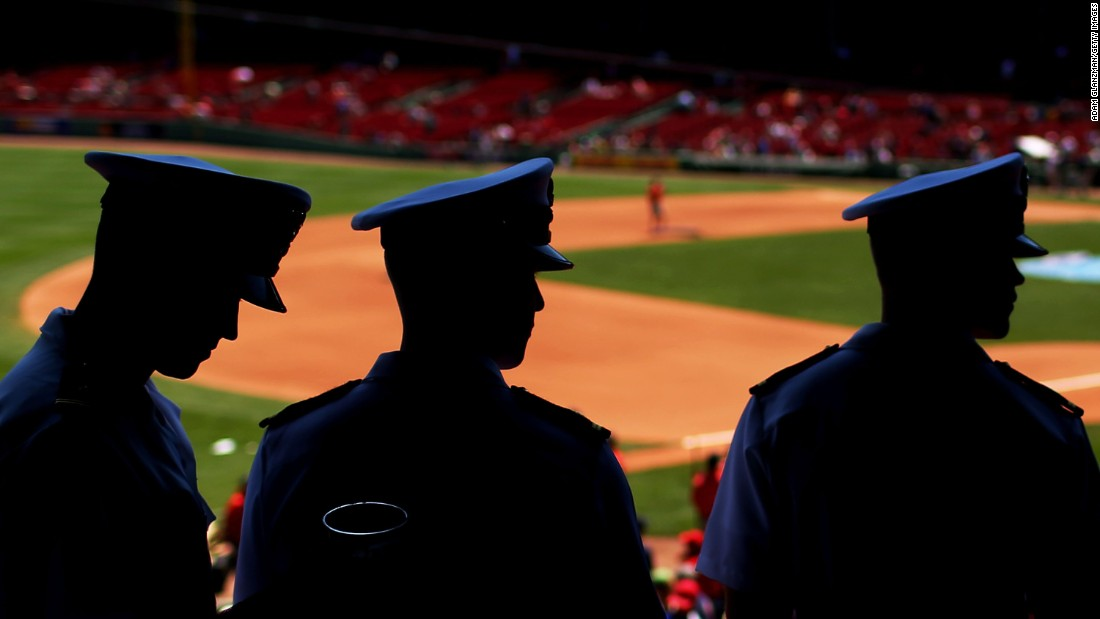 Members of the U.S. Navy attend a Boston Red Sox baseball game on Sunday, June 19.