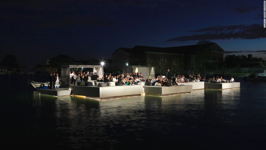 Guests were taken by boat to the floating cinema -- a modular structure assembled on the waters of Nai Pi Lae lagoon, Kudu Island -- and watched a film that was projected onto a screen built into the rocks.