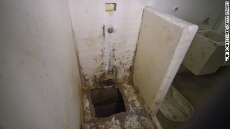 View of the hole in the shower of the Almoloya prison where Guzman was and through which he escaped in July 2015.