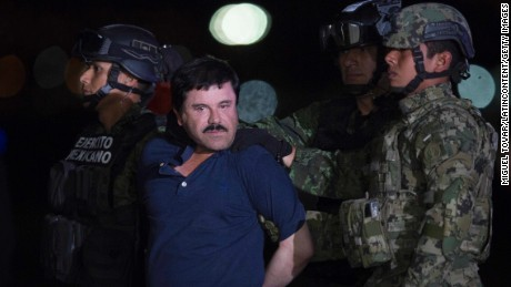 Joaquin 'El Chapo' Guzman is escorted to his detention on January 08, 2016 in Mexico City, Mexico.