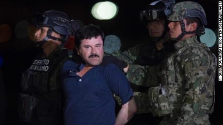 Joaquin 'El Chapo' Guzman is escorted to his detention on January 08, 2016 in Mexico City, Mexico.