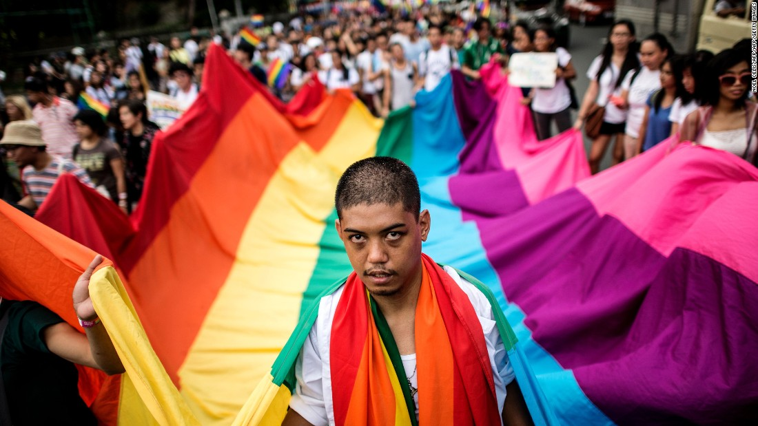 Filipino members and supporters of the LGBT community take part in a gay pride march calling for equal rights in Manila, Philippines, on June 25.