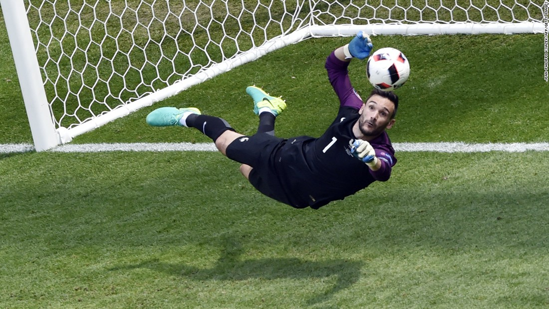 France's goalkeeper Hugo Lloris jumps for the ball.