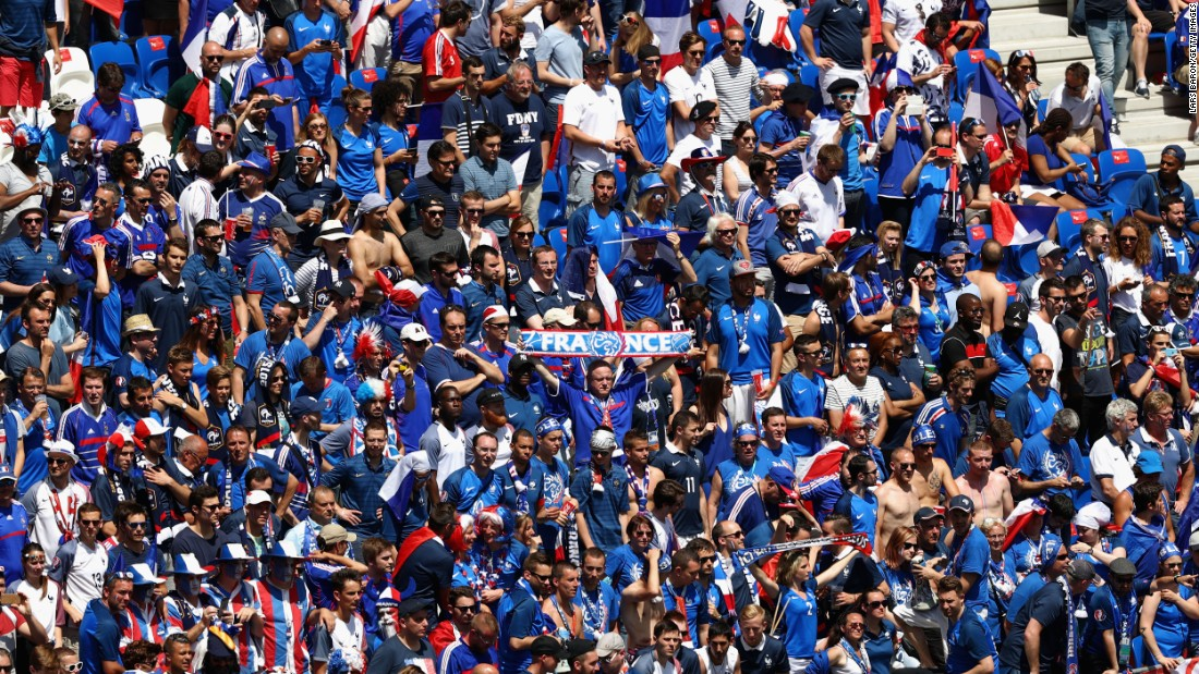 France fans show their support prior to the match.