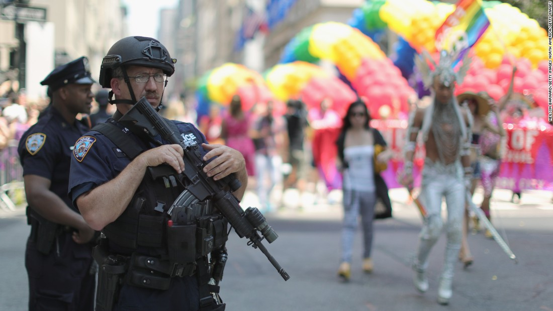 Security was heightened during New York's parade following the June 12 massacre at an Orlando gay nightclub.