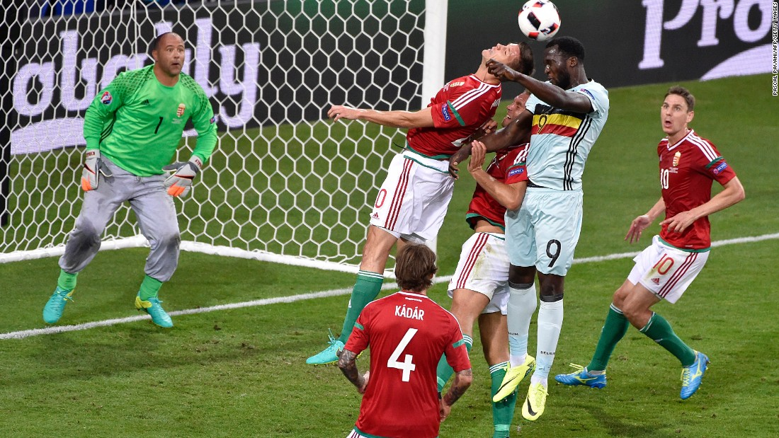 Belgian forward Romelu Lukaku, second right, vies for the header.
