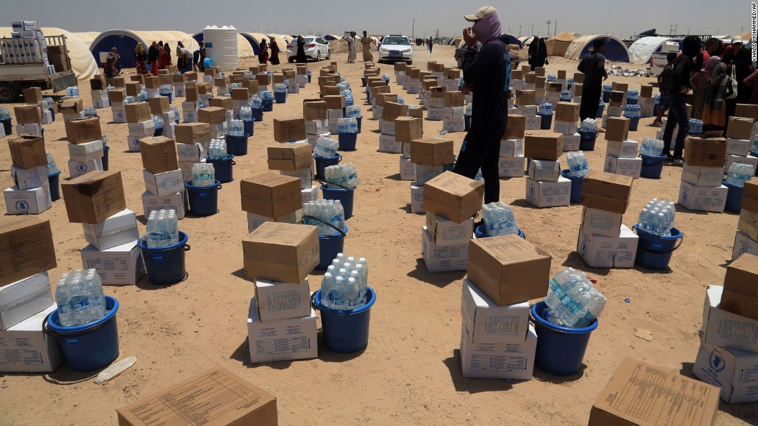 Supplies are lined up at a camp for displaced civilians on Saturday, June 25.