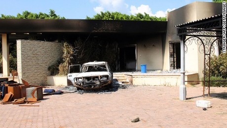 A burnt house and a car are seen inside the US Embassy compound on September 12, 2012  in Benghazi, Libya following an overnight attack on the building. The US ambassador to Libya and three of his colleagues were killed in an attack on the US consulate in the eastern Libyan city by Islamists outraged over an amateur American-made Internet video mocking Islam, less than six months after being appointed to his post.  AFP PHOTO/STRINGER        (Photo credit should read STRINGER/AFP/GettyImages)