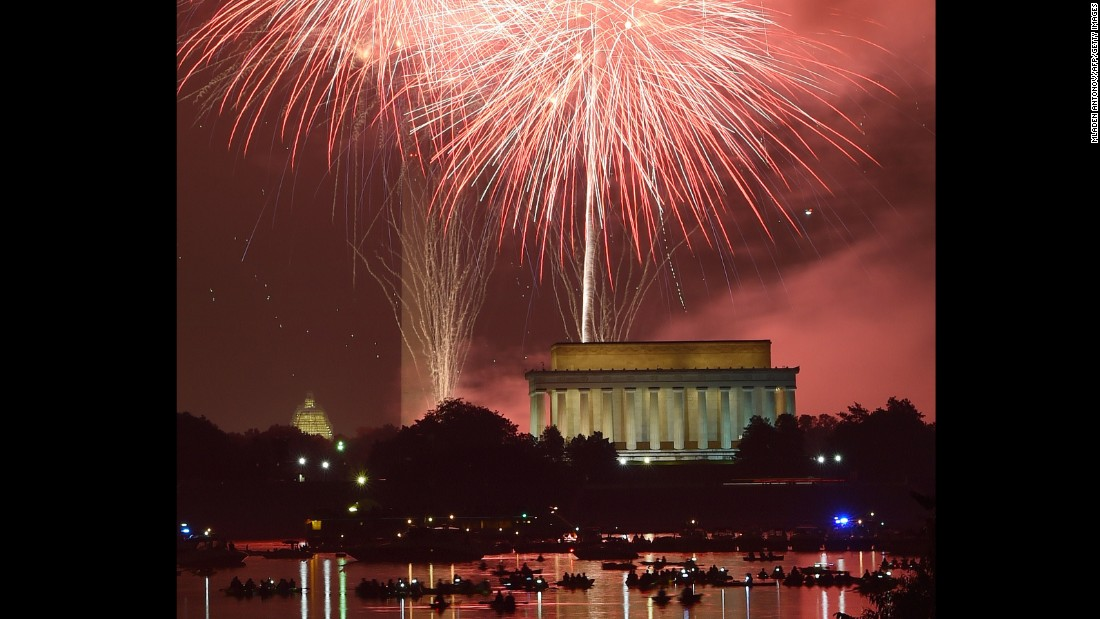Fireworks explode over the Washington Monument, the U.S. Capitol and the Lincoln Memorial in celebration of Independence Day, July 4, in Washington, D.C.