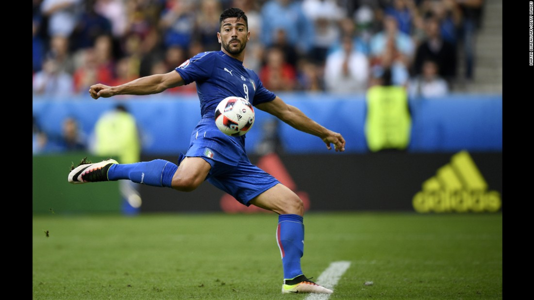 Italian forward Graziano Pelle scores a late goal to finish off a 2-0 win over Spain on Monday, June 17. Italy will play Germany in the quarterfinals.