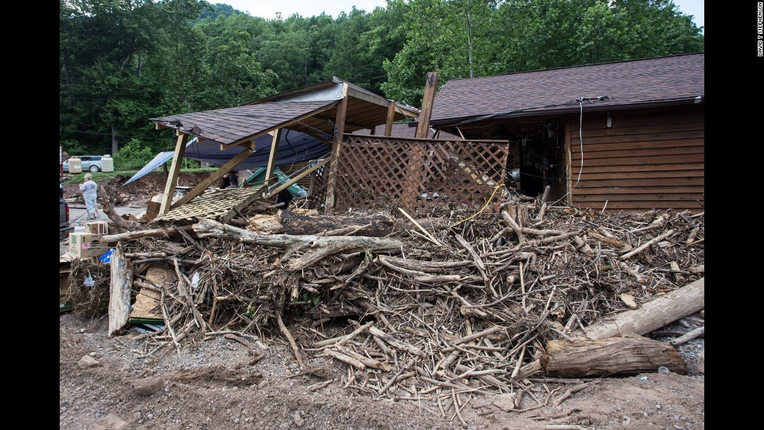 A building is damaged in Bergoo, West Virginia, on June 26.