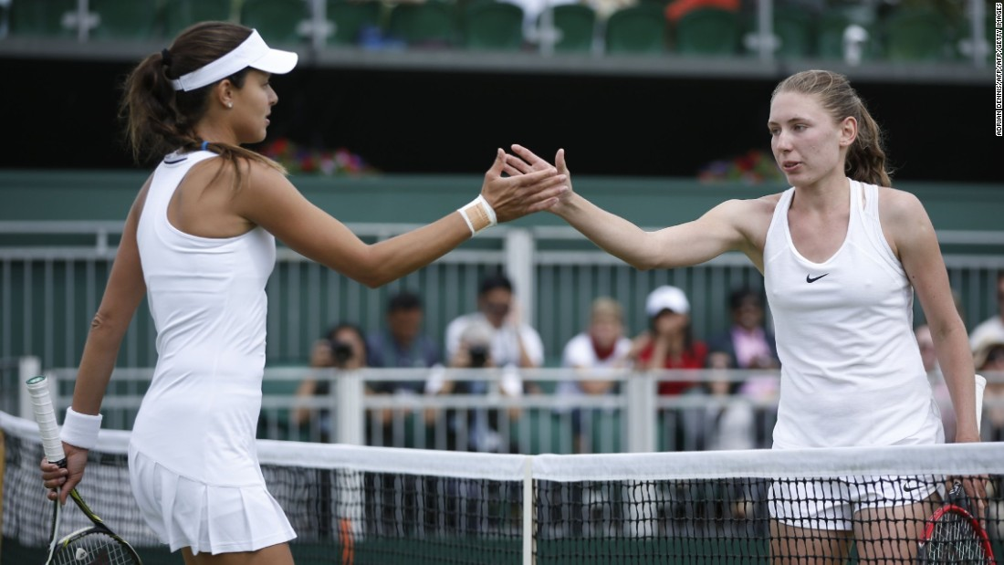 The 21-year-old Alexandrova (right) is ranked 227th in the world, and had never before played a grand slam match.