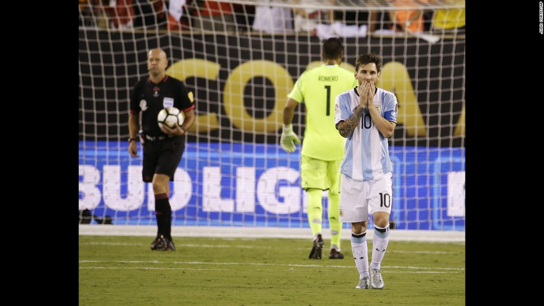 Argentina's Lionel Messi reacts after missing his shot in the penalty shootout against Chile on Sunday, June 26. Chile won the shootout 4-2 to edge Argentina in the final of the Copa America Centenario. After the match, Messi said he would retire from international soccer. Argentina has lost tournament finals in the last three summers: the World Cup final in 2014, the Copa America final in 2015 and now the Centenario.