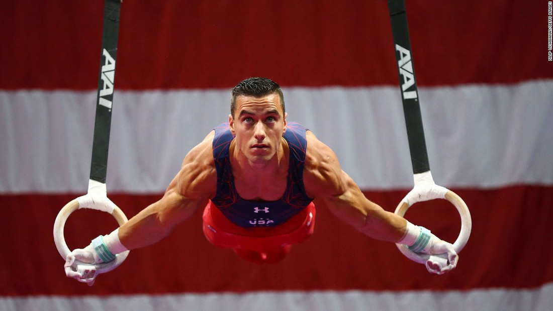 Jacob Dalton competes on the rings Thursday, June 23, during the U.S. Olympic Gymnastics Trials. He made the team and will compete at his second Olympics.