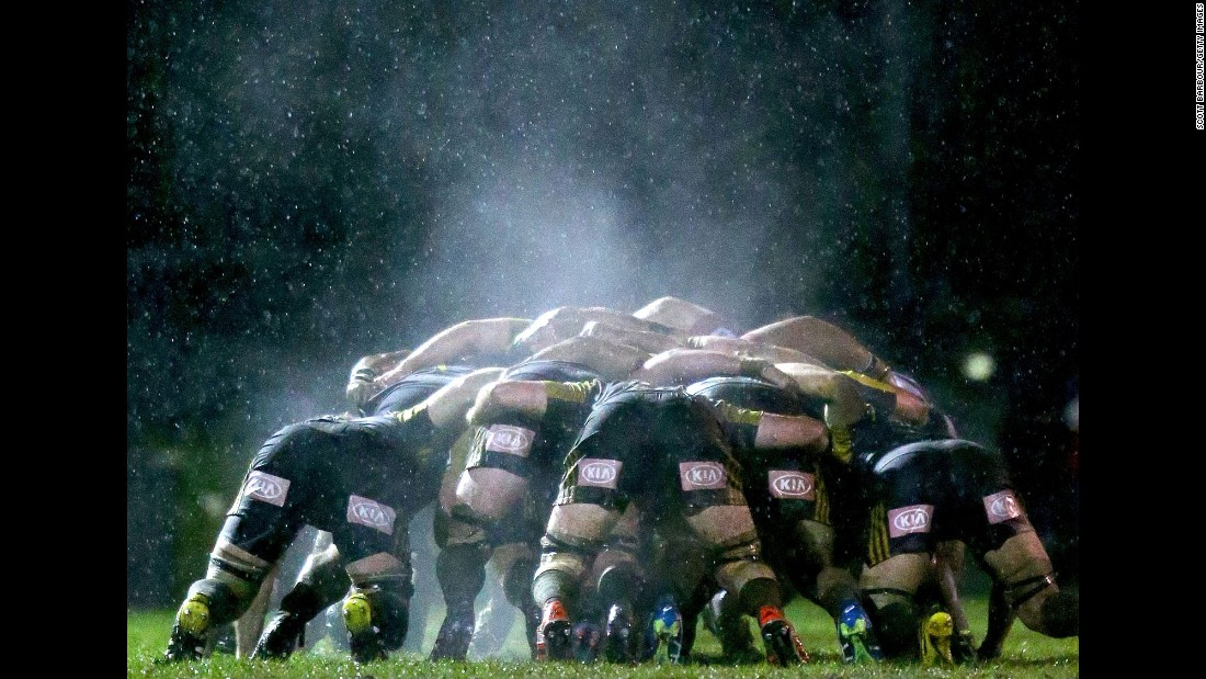 Steam rises from a scrum during a Super Rugby exhibition match in Melbourne on Thursday, June 23.