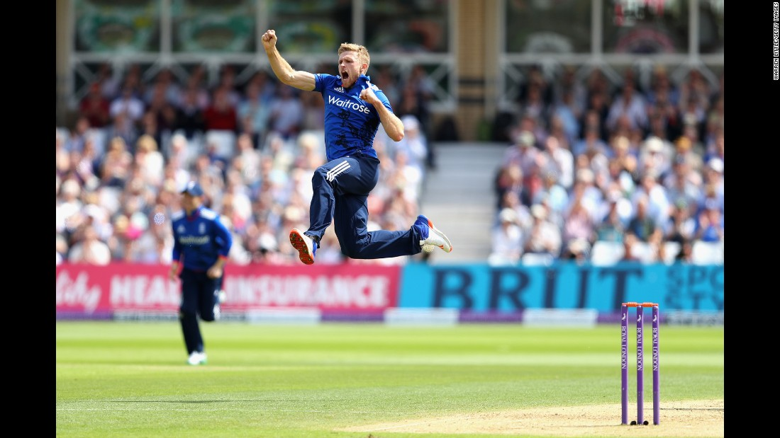 England's David Willey celebrates the wicket of Sri Lanka's Kusal Perera during a One Day International match in Nottingham, England, on Tuesday, June 21.