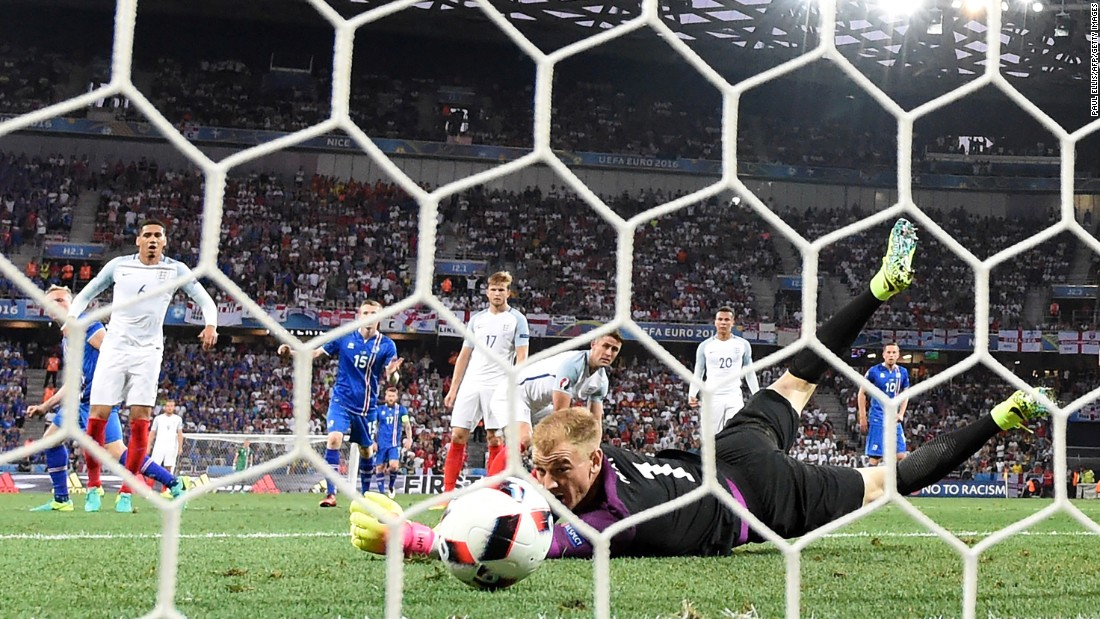 English goalkeeper Joe Hart got a hand on Sigthorsson's shot but couldn't bring it in.