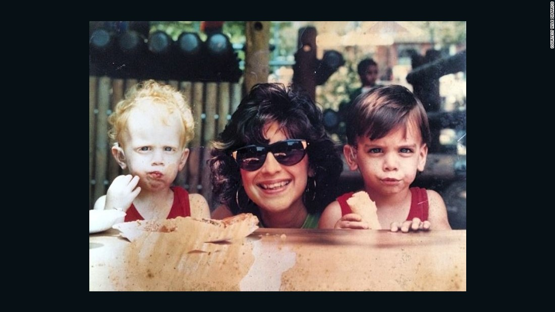 DiMarco, right, with his mom Donna and twin brother Nico.
