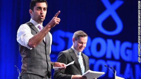 ABERDEEN, SCOTLAND - OCTOBER 16:  Humza Yousaf MSP and Derek Mackay MSP speak during the morning session on day two of the 81st annual SNP conference at the Aberdeen Exhibition and Conference Centre on October 16, 2015 in Aberdeen, Scotland. The Scottish National Party are holding their first conference this week since the landslide victory in the May 2015 general election.  (Photo by Jeff J Mitchell/Getty Images)