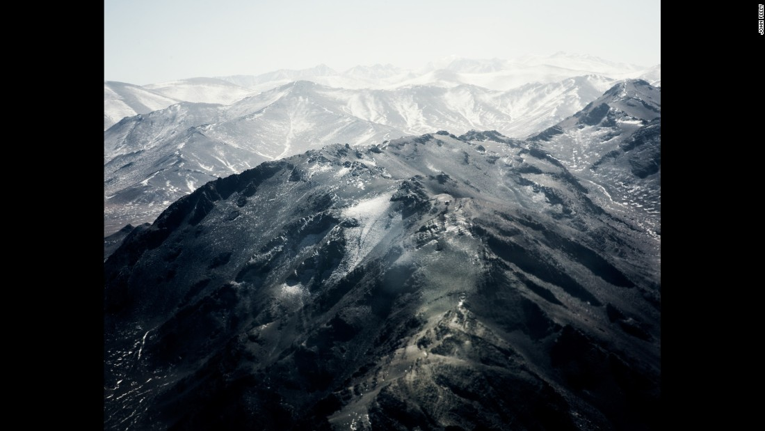 An aerial view of the Altai Mountains in Mongolia.