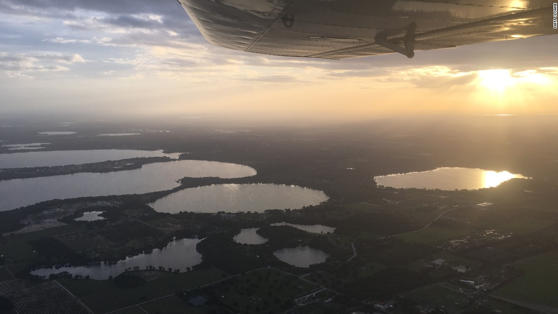 "Sloane enjoyed this beautiful view out the plane's left window, during a 2-hour required cross-country solo flight. It ""was one of the most peaceful experiences I'd ever had,"" he recalled."