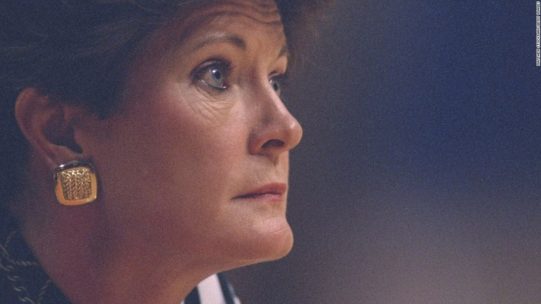 University of Tennessee head coach Pat Summitt during a game against Alabama played in Knoxville, Tennessee, on January 28, 1996.