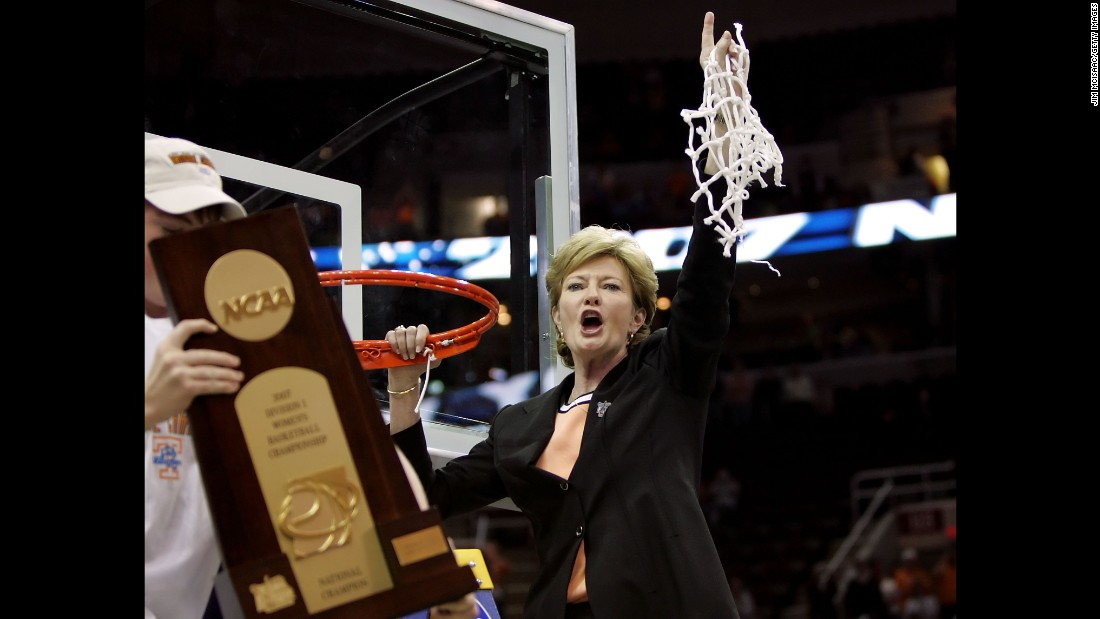 Coach Pat Summitt celebrates after Tennessee's 59-46 win against the Rutgers Scarlet Knights to win the 2007 NCAA Women's Basketball Championship Game on April 3, 2007 in Cleveland, Ohio.