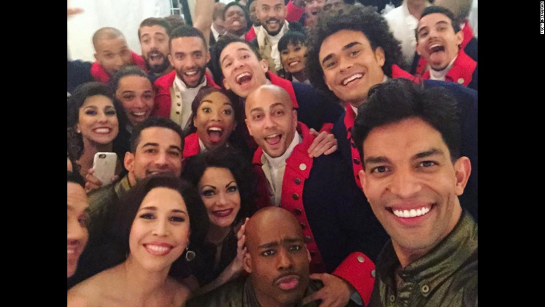 "Cast members of the hit Broadway shows ""Hamilton"" and ""On Your Feet!"" <a href=""https://www.instagram.com/p/BGk-n_uhcFL/"" target=""_blank"">take a selfie</a> Sunday, June 12, at the Beacon Theater in New York. ""Hamilton"" <a href=""http://money.cnn.com/2016/06/13/media/hamilton-tonys/"" target=""_blank"">won 11 Tony Awards</a> this year, one short of the all-time record."