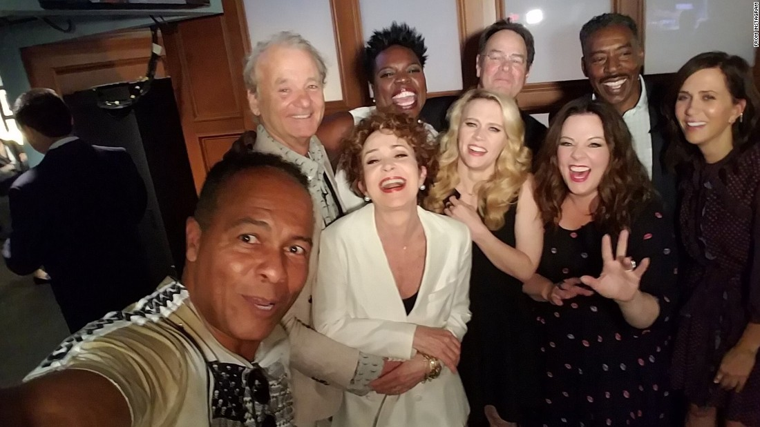 "Ray Parker Jr., singer of the iconic ""Ghostbusters"" theme song, takes a selfie with cast members from both the 1984 movie and the 2016 reboot. ""How can this picture NOT make you happy?"" <a href=""https://twitter.com/paulfeig/status/740520931550887937"" target=""_blank"">tweeted the reboot's director, Paul Feig,</a> on Wednesday, June 8. Behind Parker, from left, are Bill Murray, Annie Potts, Leslie Jones, Kate McKinnon, Dan Akyroyd, Melissa McCarthy, Ernie Hudson and Kristen Wiig."