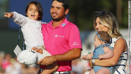 Day celebrates with his family after winning the 2016 Players Championship at Sawgrass.