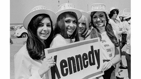 "Supporters of Robert F. Kennedy wait for their candidate to show up at Los Angeles International Airport. ""I felt the spirit and enthusiasm of these young supporters,"" Kennerly said. ""To them, Robert Kennedy had picked up the fallen flag carried by his brother, and they thought he would carry it into the White House."""