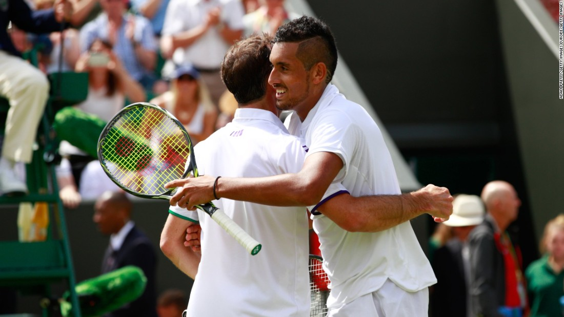 "Australian 15th seed Nick Kyrgios showcased both sides of his game with a lobbed ""tweener"" --  surely a contender for shot of the tournament -- followed by a code violation. Though 37-year-old opponent Radek Stepanek had soccer star Petr Cech cheering him on, Kyrgios -- just 21 -- won in four sets."