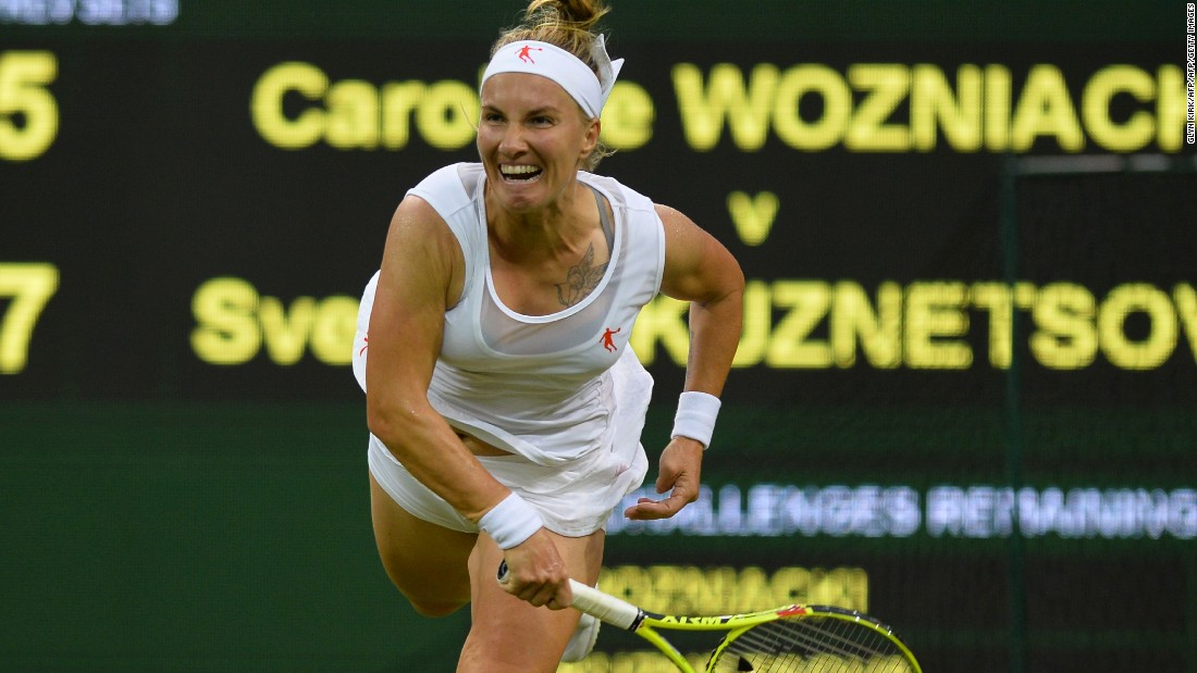 The Dane lost 7-5 6-4 on Centre Court to Russian 13th seed Svetlana Kuznetsova, who next faces Tara Moore. The Hong Kong-born Brit is in the second round of a grand slam for the first time after beating Belgium's Alison van Uytvanck 6-3 6-2.