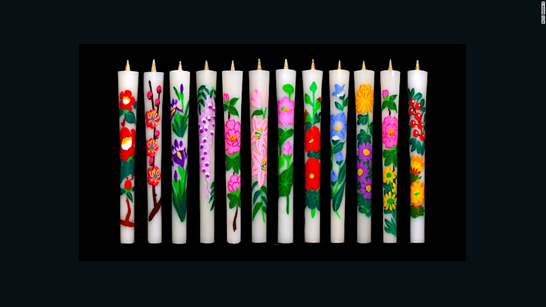 These beautiful painted candles are made out of  layers of wax that have been extracted from the seeds of lacquer trees. Artisans in Aizu, Fukushima  have been making them by hand for hundreds of years.
