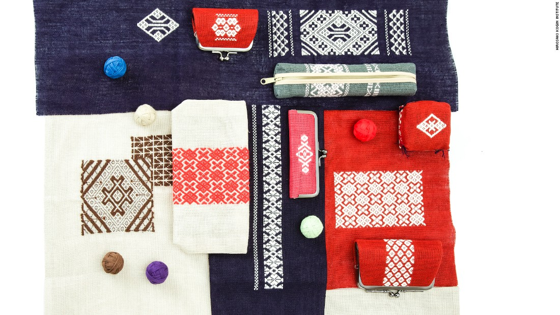 "Kogin means ""small cloth"" and zashi means ""stitches."" Stitched on dyed linen, these geometric patterns originated in Aomori prefecture during the Edo era."