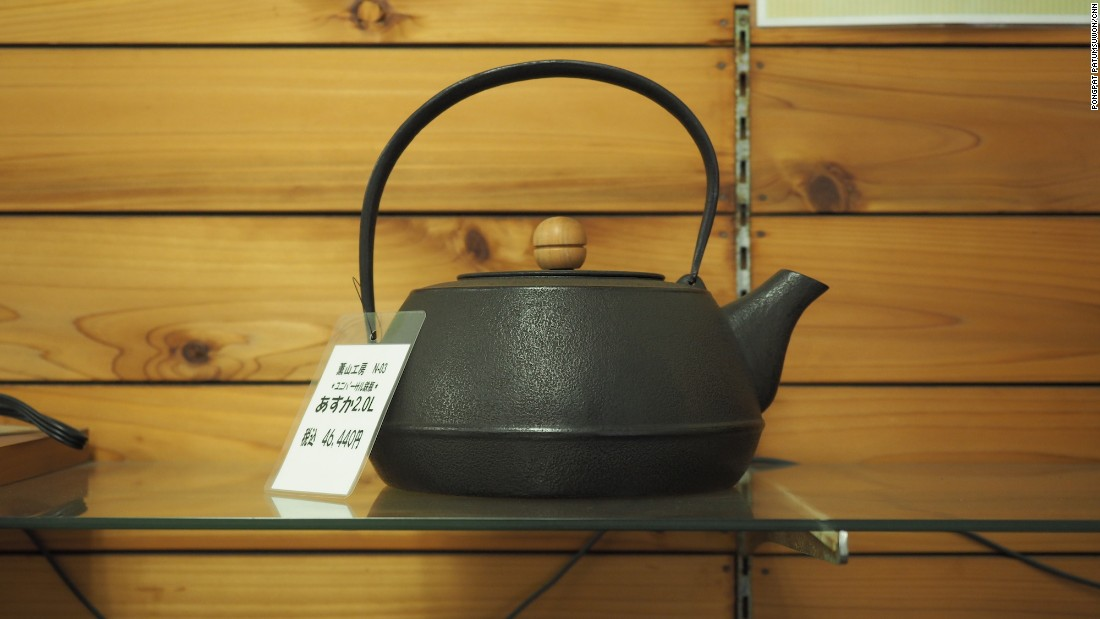 This handmade Nanbu teakettle goes for 46,440 yen, close to $450. Nanbu ironware was designated a traditional craft by the Japanese government in 1975.