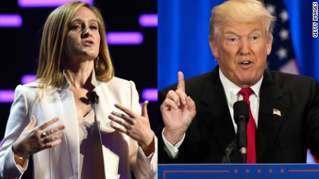 NEW YORK, NEW YORK - MAY 18: Comedian Samantha Bee appears on stage appears on stage during Turner Upfront 2016 show at The Theater at Madison Square Garden on May 18, 2016 in New York City. (Photo by Nicholas Hunt/Getty Images for Turner)  NEW YORK, NY - JUNE 22: Republican Presidential candidate Donald Trump speaks during an event at Trump SoHo Hotel, June 22, 2016 in New York City. Trump's remarks focused on criticisms of Democratic presidential candidate Hillary Clinton. (Photo by Drew Angerer/Getty Images)