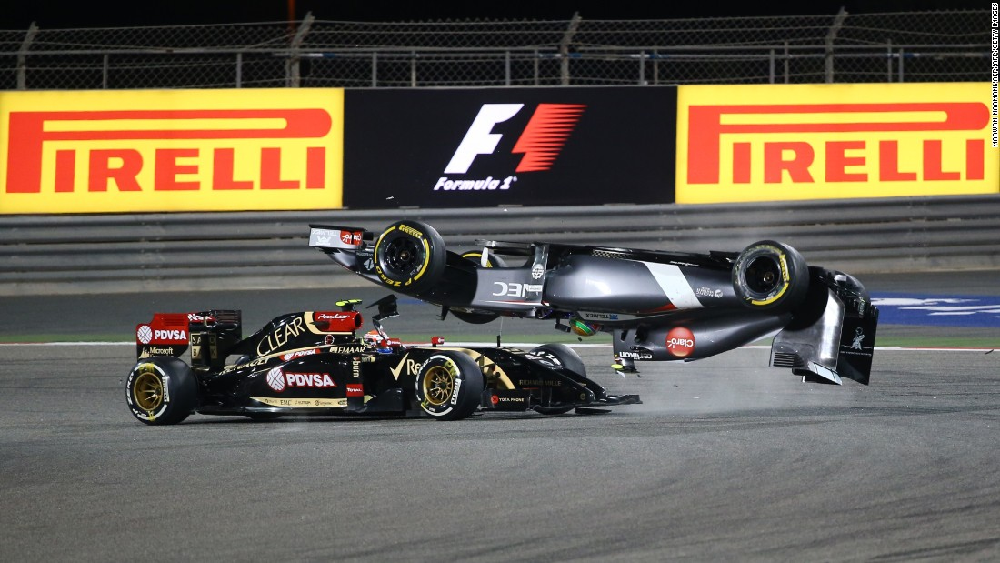"Daniil Kvyat has also weighed into the debate, telling CNN: ""It's an important part of my job that this is that this sport is dangerous, and we have to maintain it as such."" Above, Sauber driver Esteban Gutierrez crashes out in dramatic fashion at the 2014 Bahrain Grand Prix."