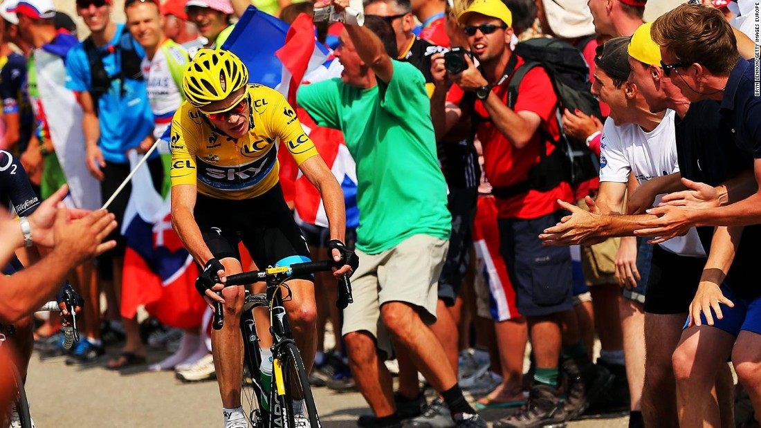 Froome is pictured powering to victory on stage 15 of the 2013 Tour de France on the climb to the Mont Ventoux summit. He is race favorite this year.