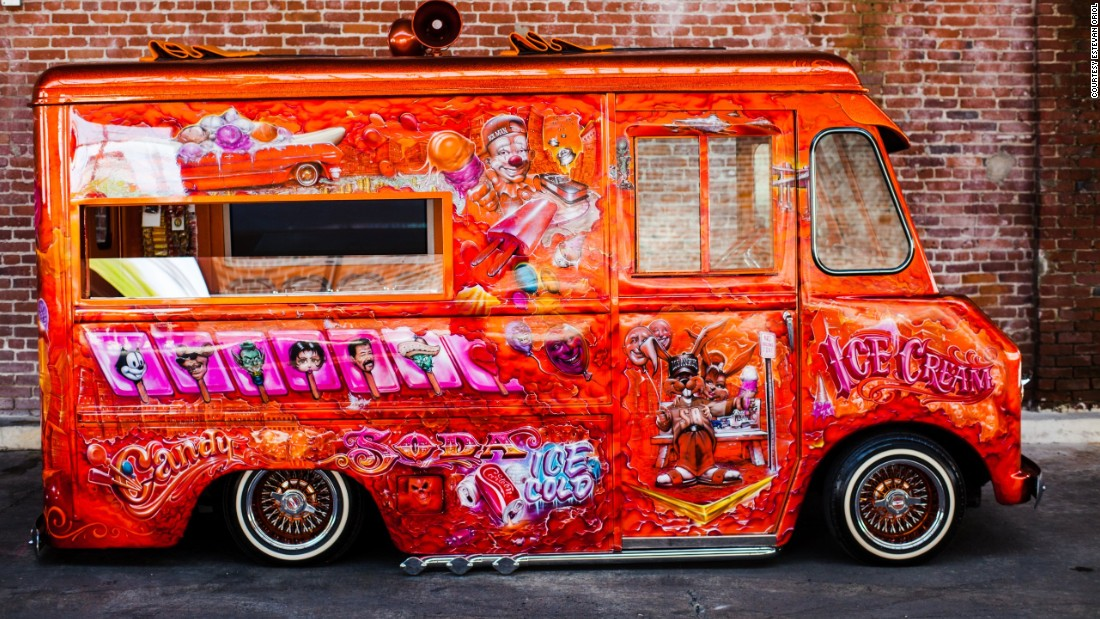 "Tattoo artist to the stars Mister Cartoon, whose clients include Lewis Hamilton, Kobe Bryant and Beyoncé, spray-painted this 1963 ice cream truck. <br /><br />""It's like my own version of Willy Wonka's Chocolate Factory meets the 'hood,"" he said in an interview with <a href=""http://www.dubmagazine.com/home/stars/item/8601-mister-cartoon"" target=""_blank"">Dub magazine</a>."