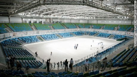 View of the Carioca Arena 2 at the Olympic Park in Rio de Janeiro, Brazil, on May 14, 2016, during its inauguration. The Carioca Arena 2 will host Judo and Wrestling competitions during the Rio 2016 Olympic games and Bocha during the Paralympic games. / AFP / YASUYOSHI CHIBA        (Photo credit should read YASUYOSHI CHIBA/AFP/Getty Images)