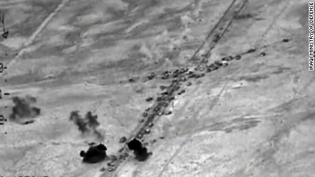 Airstrikes hit huge ISIS convoy