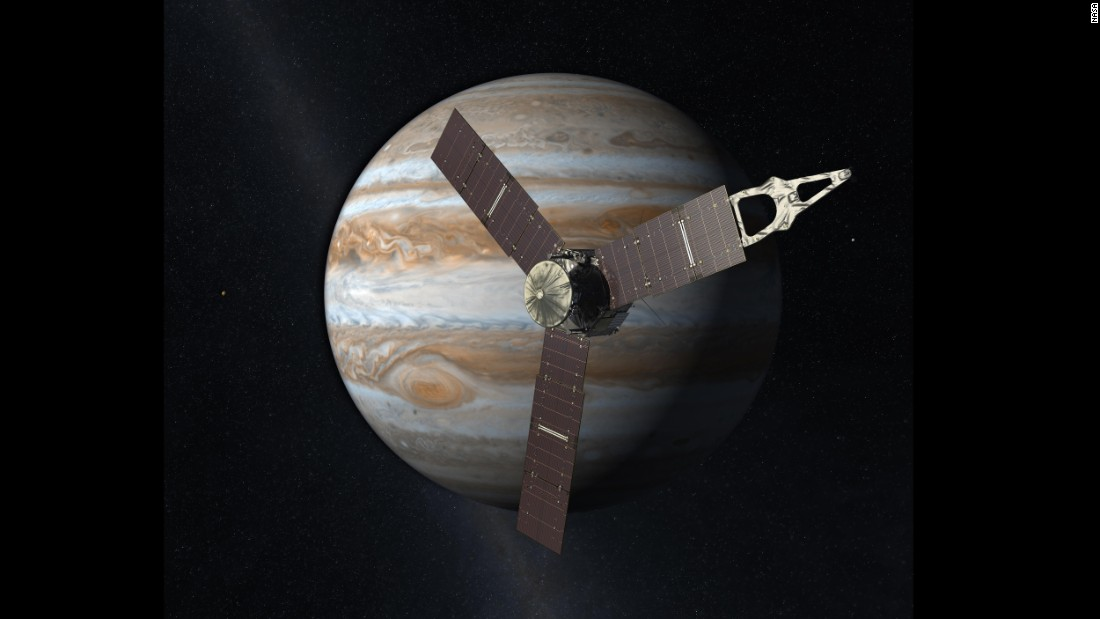 This artist rendering shows Juno orbiting Jupiter.