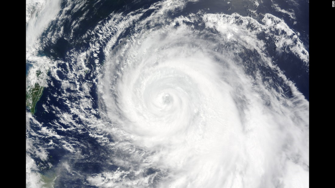 Typhoon Chan-hom in 2015, as seen from space on its approach towards China.
