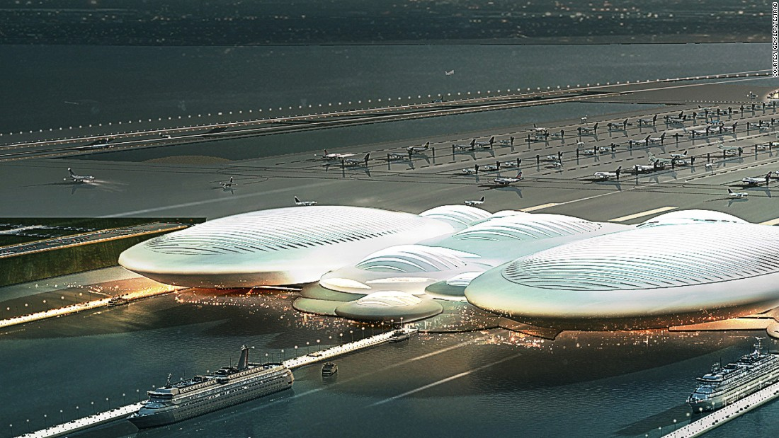 """London Britannia Airport is a six-runway """"floating airport"""" proposal to be built on an artificial island in the Thames Estuary, about 30 miles east of the UK capital."""