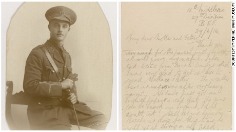 British army lieutenant Eric Heaton wrote this letter to his parents on June 28, 1916, shortly before his death on the first day of the Somme. It is one of many letters written by soldiers of the Somme and exhibited by the UK's Imperial War Museum on the 100th anniversary of the battle.