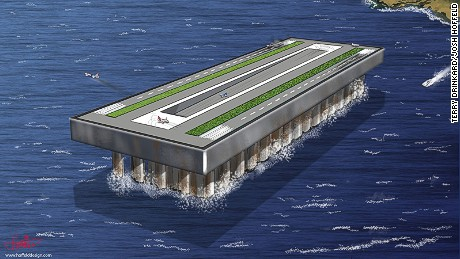 An artist's rendering of Terry Drinkard's floating airport concept.