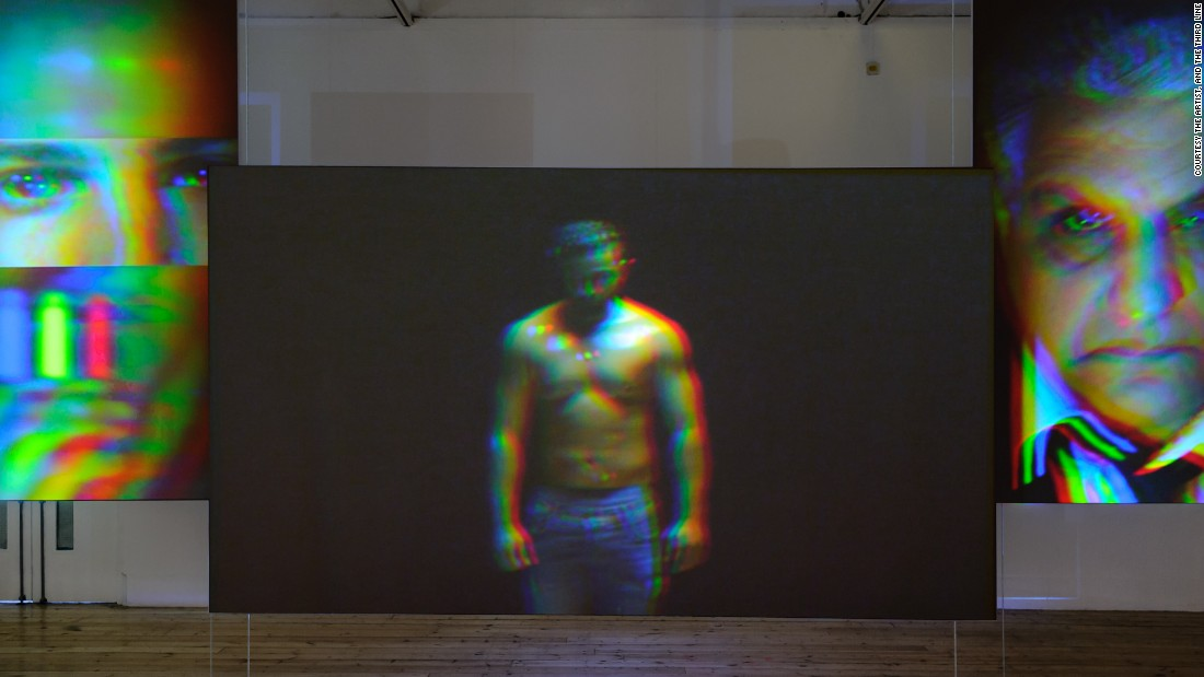 "In the five-channel video installation ""The Watchers No. 1-5"", Al-Maria evokes the male gaze with a reenactment of a dream sequence in the script for ""Beretta.""<br /><em><br />Still from ""The Watchers No. 1-5'"" (2014) by Sophia Al-Maria</em>"