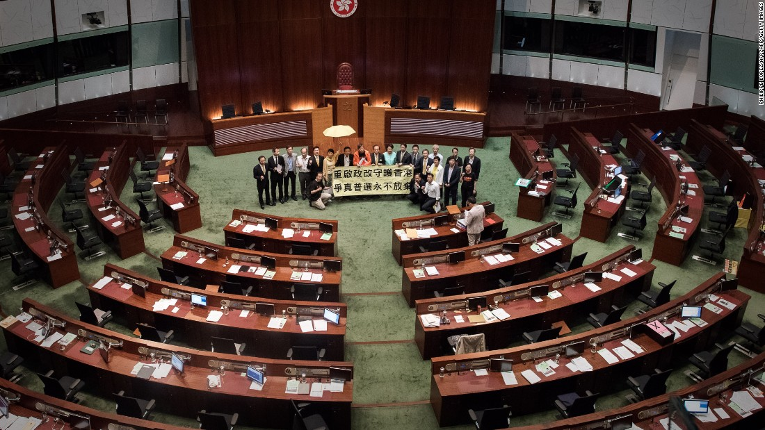 """<strong>Reform fails: </strong>An attempt by the government to <a href=""""http://cnn.com/2015/04/22/china/hong-kong-electoral-reform-proposal/"""">pass limited political reform</a> ends in embarrassing failure on June 18, 2015 when a botched walkout by pro-establishment lawmakers results in the motion being defeated 28-8."""