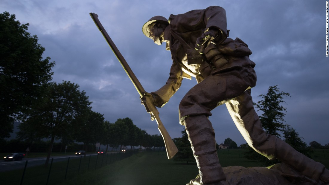 A statue of a British soldier stands near Albert, France, a town located within a few miles of the frontline of the The Battle of the Somme. The battle began just before 7:30 on the morning of July 1, 1916, and it became known as the British Army's bloodiest day, resulting in 57,470 British casualties.